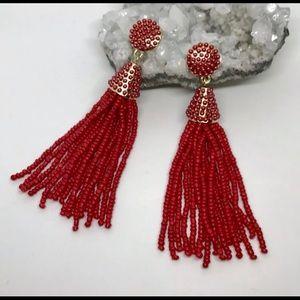 Beaded tassel earrings in Red